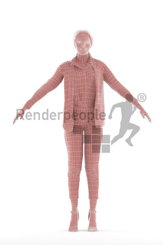 3d people business/casual, black 3d woman rigged