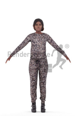 3d people sleepwear, black woman rigged