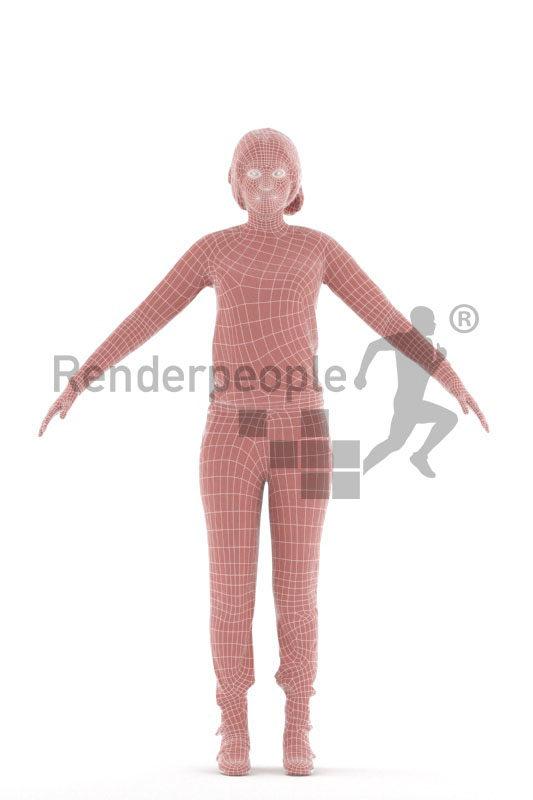 3d people sleepwear, black woman rigged