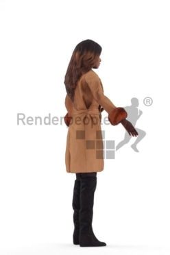3d people outdoor, black 3d woman rigged