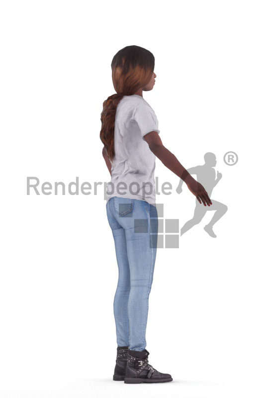 3d people casual, 3d black woman rigged