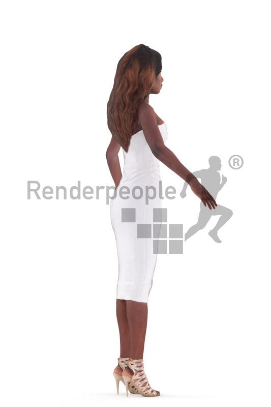 Rigged human 3D model by Renderpeople – black woman in event dress
