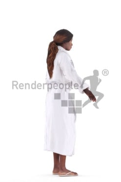 3d people spa, black 3d woman with bathrobe rigged