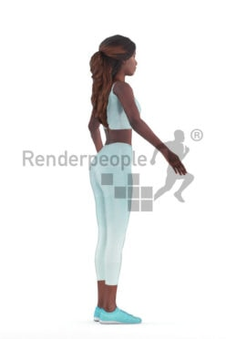 Rigged human 3D model by Renderpeople – black woman in gymwear