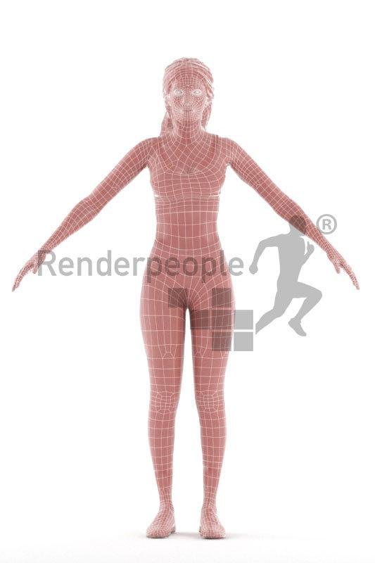 Rigged human 3D model by Renderpeople – black woman in gymwear