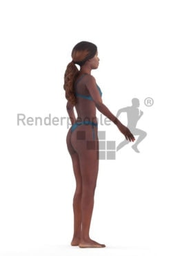 3d people beach/pool, 3d people black woman rigged