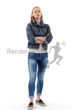 3d people casual, white 3d woman folding her arms