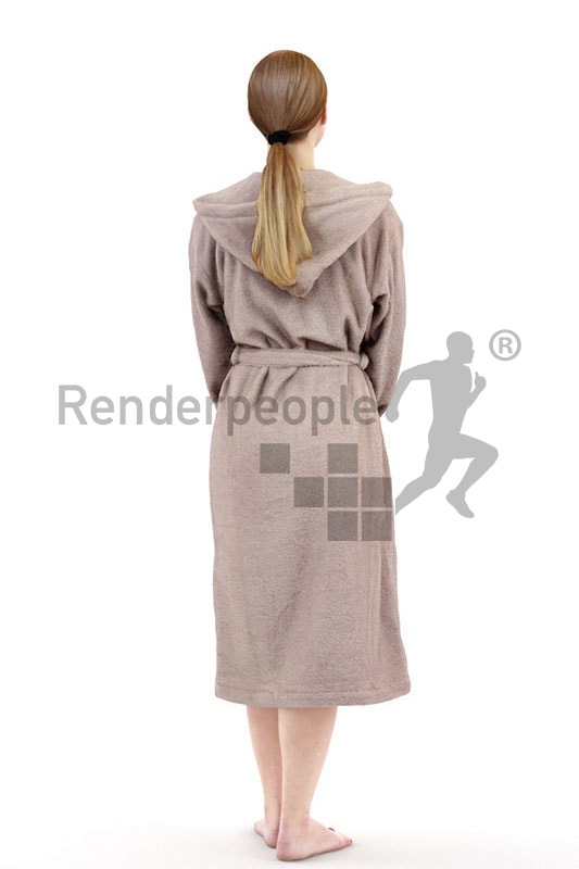 3d people spa, white 3d woman in bathrobe