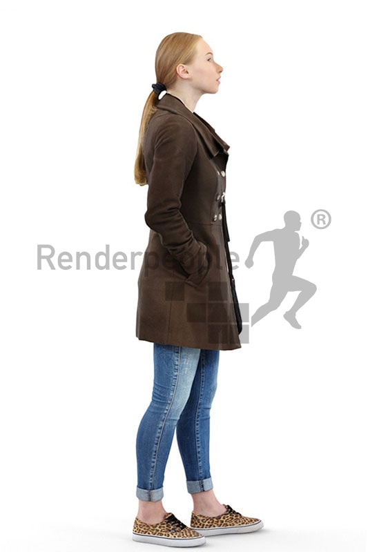 3d people outdoor, white 3d people wearing a coat