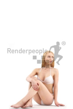 3d people beach, white 3d woman in bikini sitting on floor