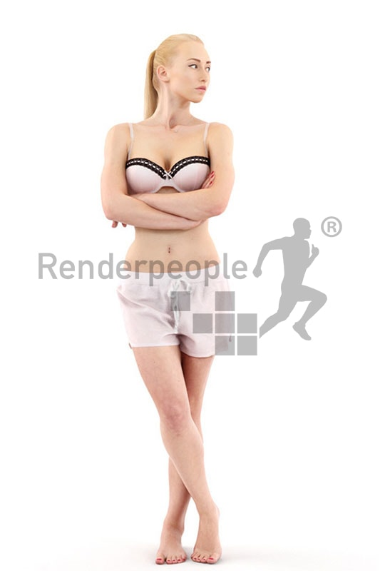 3d people bed, white 3d woman in sleeping dress