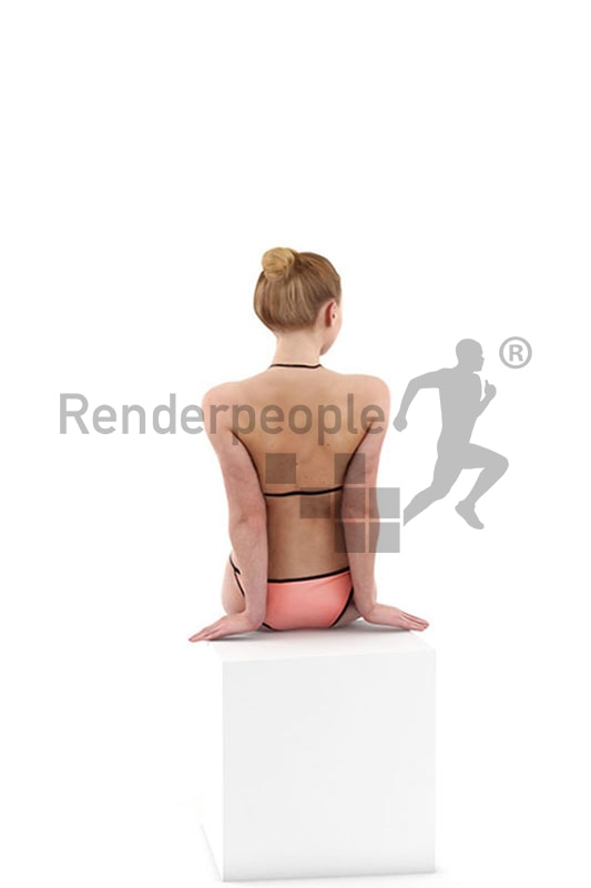 3d people bikini, white 3d woman sitting on the edge of a pool