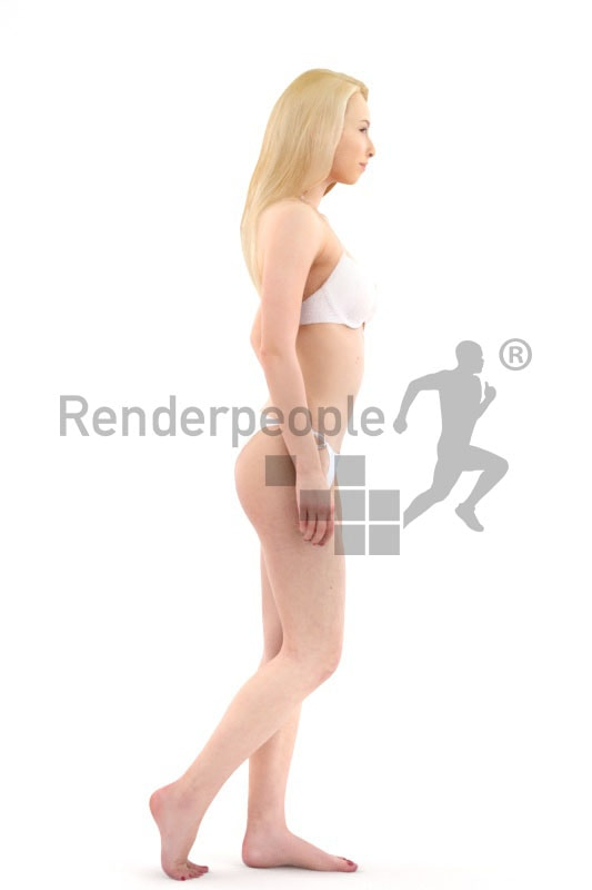3d people pool, white 3d woman in bikini walking