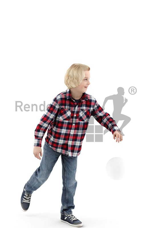 3d people kids, white 3d child playing