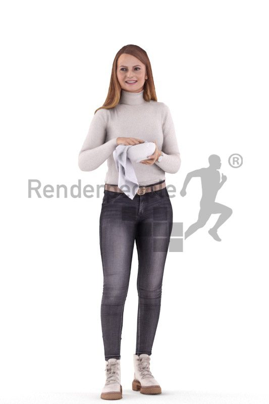 Photorealistic 3D People model by Renderpeople – white female in casual outfit, doing the dishes