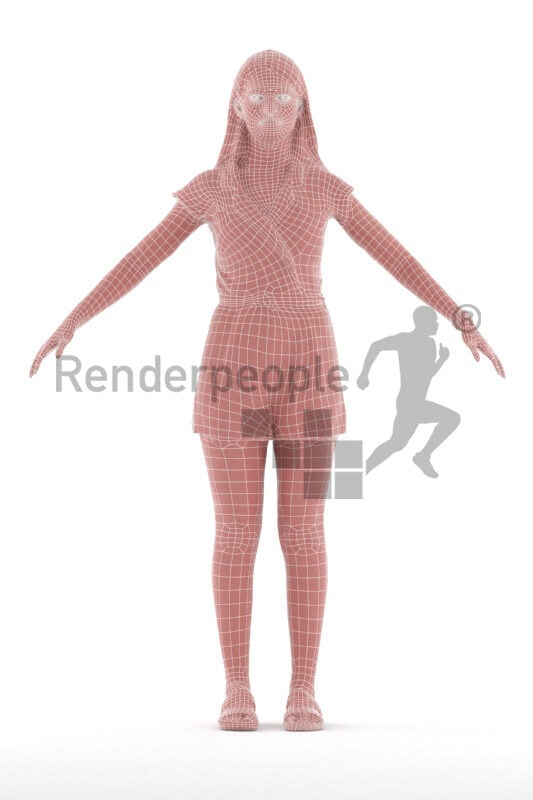 Rigged and retopologized 3D People model – white female in casual jumpsuit