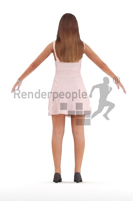 Rigged 3D People model for Maya and 3ds Max – european woman in chic event dress