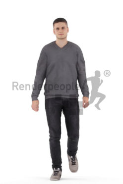 Animated human 3D model by Renderpeople – european male in daily look, walking