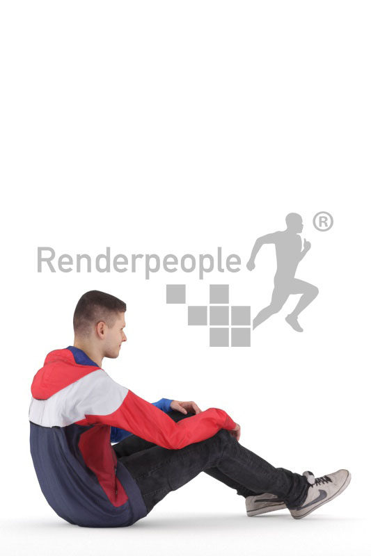 Animated human 3D model by Renderpeople – white man in streetwear, sitting