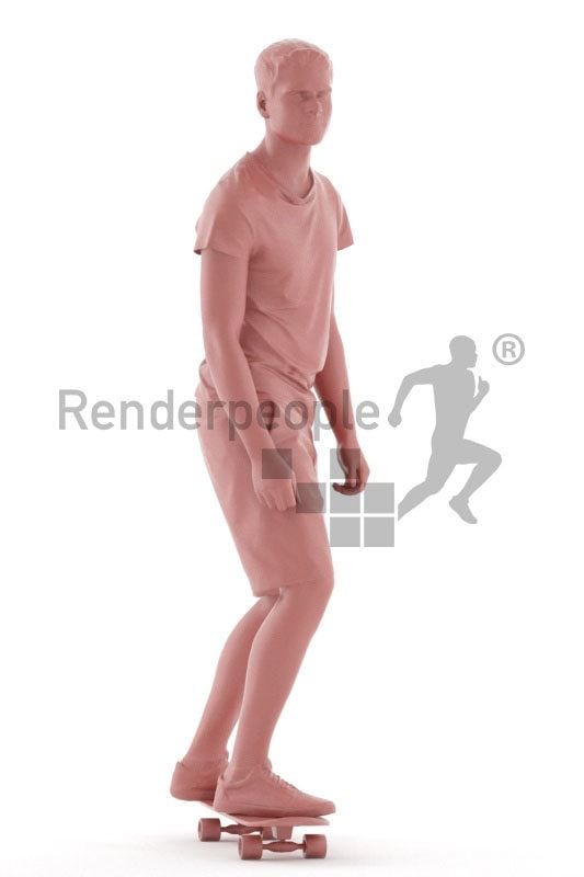 Posed 3D People model for renderings – european man in daily look, skateboarding