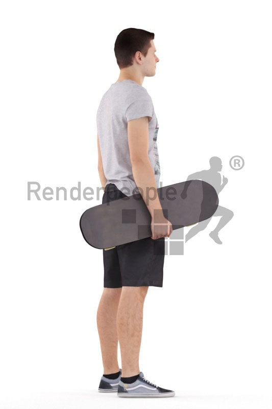 Scanned human 3D model by Renderpeople – European male in casual clothes, standing with a skateboard