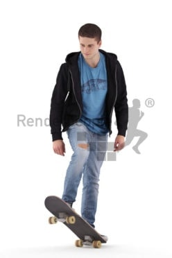 Photorealistic 3D People model by Renderpeople – casual dressed european man, skateboarding