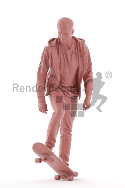 Photorealistic 3D People model by Renderpeople – casual dressed european man, skateboarding