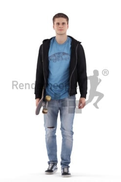 3D People model for 3ds Max and Maya – european male in casual look with a skateboard