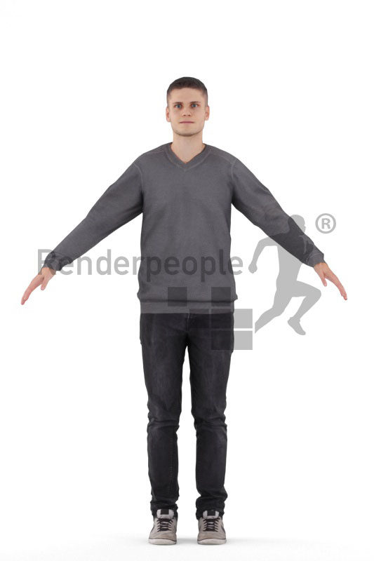 Rigged human 3D model by Renderpeople – european man in casual pullover and jeans