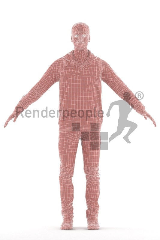Rigged and retopologized 3D People model – white man in casual look