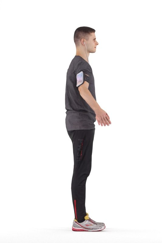 Rigged human 3D model by Renderpeople – european male in jogging outfit