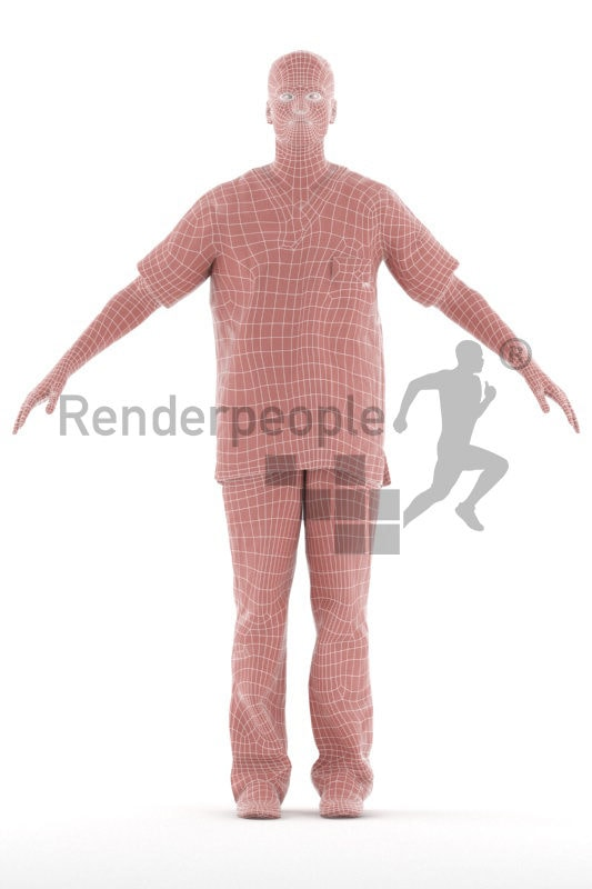 Rigged 3D People model for Maya and 3ds Max – european man in healthcare outfit, hospital