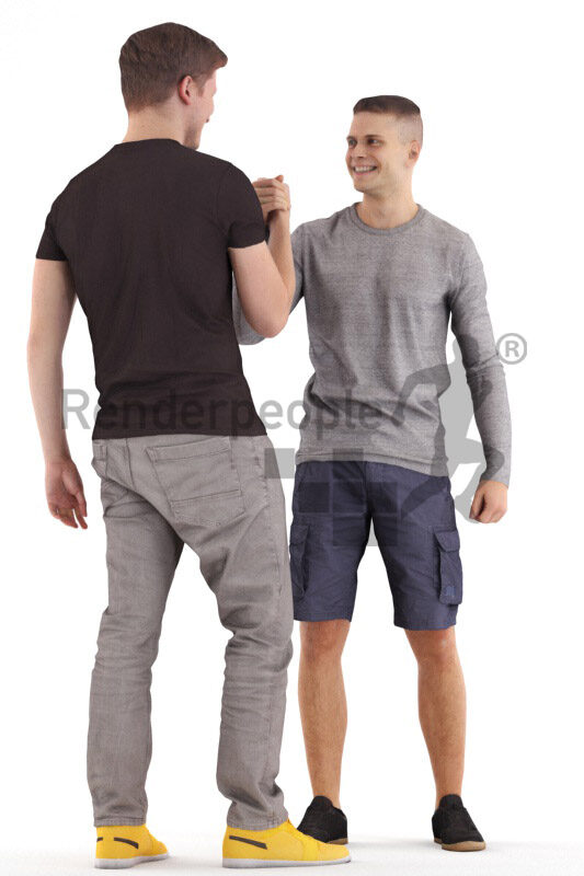Posed 3D People model for visualization – two european man in casual look, greeting