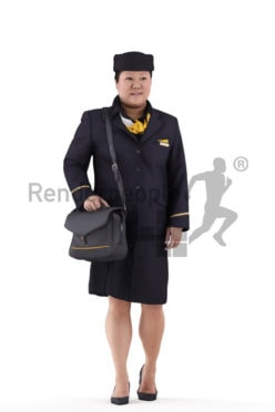 Scanned human 3D model by Renderpeople – asian stewardess walking with a bag