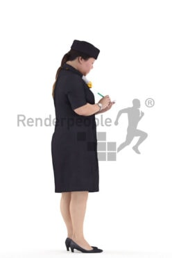 3D People model for 3ds Max and Maya – asian woman in stewardess uniform, taking notes