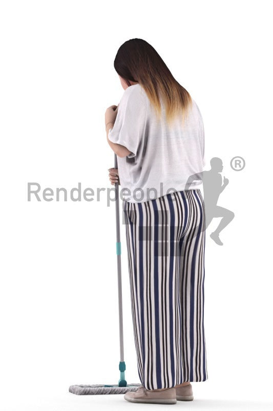 3D People model for 3ds Max and Cinema 4D – asian woman in casual spring look, mopping, wiping