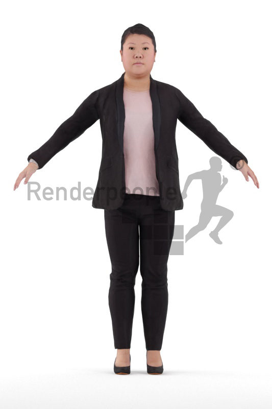 Rigged 3D People model for Maya and Cinema 4D – asian woman in business look