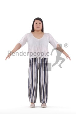 Rigged human 3D model by Renderpeople – asian woman in casual spring outfit