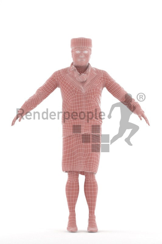 Rigged and retopologized 3D People model – asian woman in flight attendant dress in