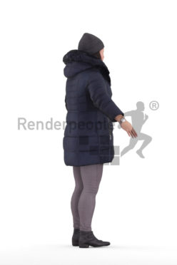 Rigged and retopologized 3D People model – asian woman in winter outdoor look