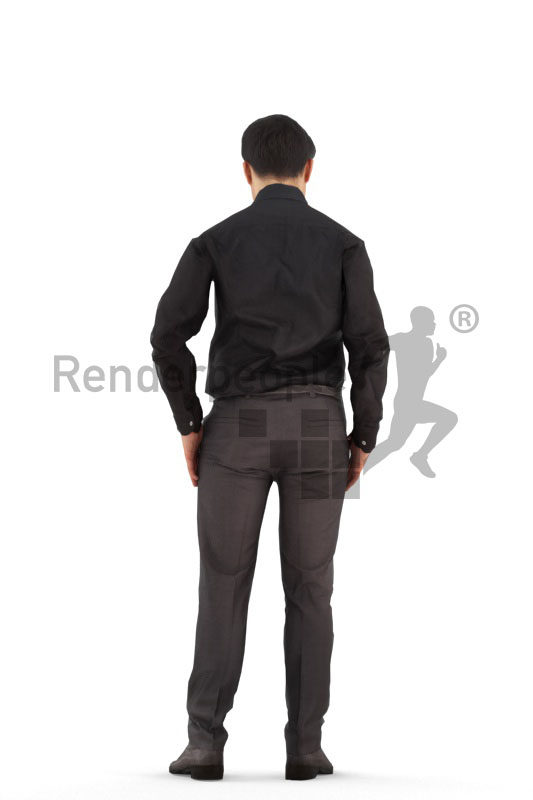 Human 3D model for animations – asian an in business look, standing