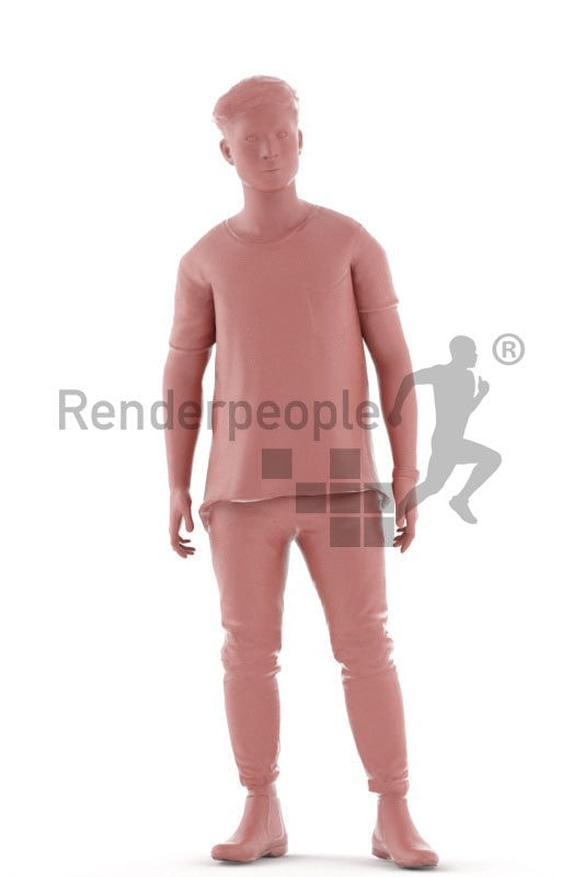 3d people casual, animated man standing and idling