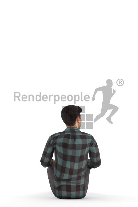 Animated 3D People model for 3ds Max and Maya – asian man in shirt, sitting