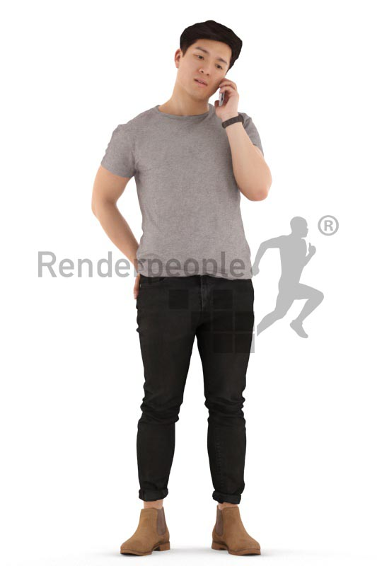 3d people casual, asian 3d man walking and talking on the phone