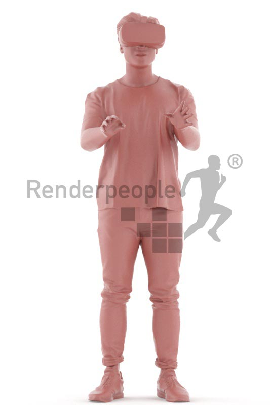 3d people casual, asian 3d man standing and wearing a vr headset