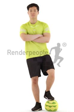 3d people sports, asian 3d man standing with soccer ball