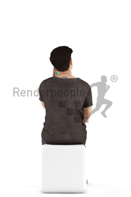 3d people casual, asian 3d man talking and talking on the phone