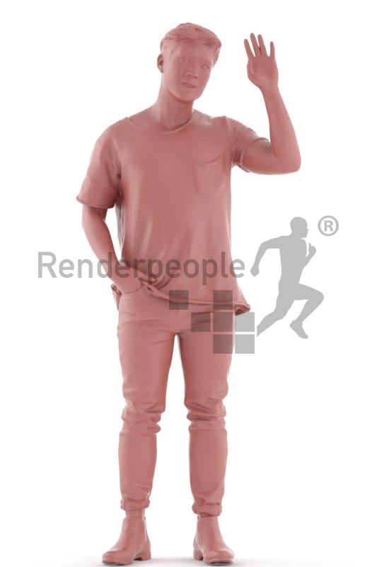 3d people casual, asian 3d man standing and waving