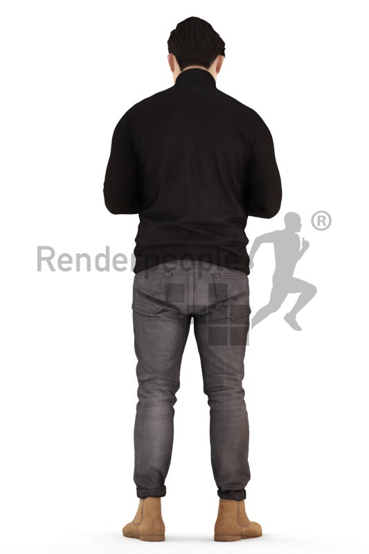 3d people casual, asian 3d man standing and texting