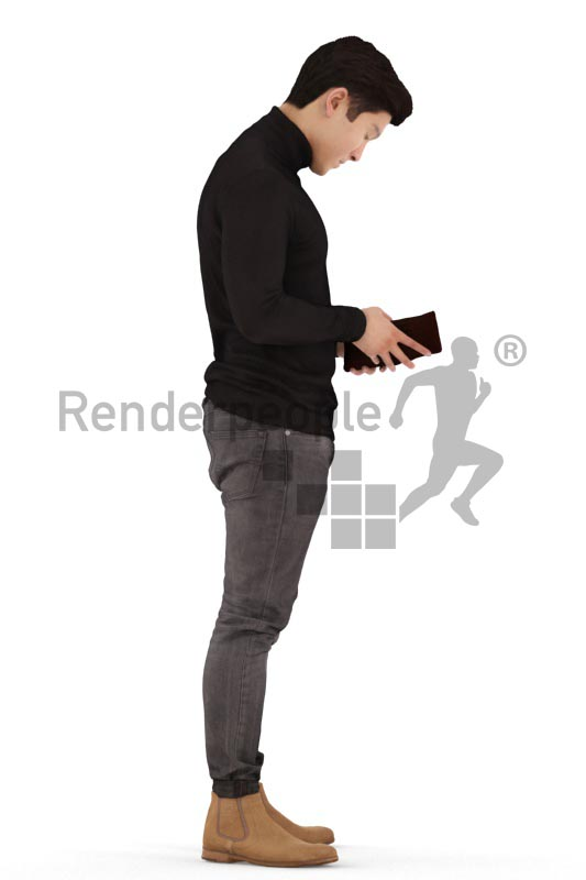 3d people casual, asian 3d man standing and looking into his wallet